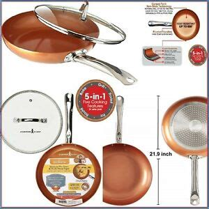 copper chef   frying ceramic tech  stick pan  lid    tv ebay