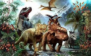 3D Dinosaurs Jurassic World Mountain Wallpaper Wall Art