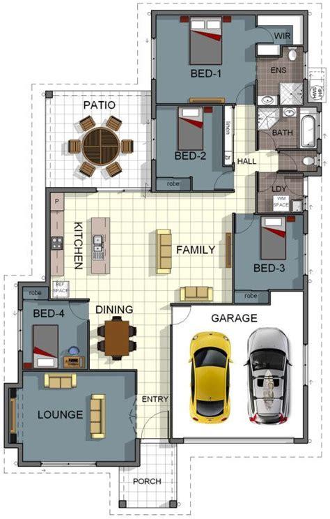 floor plan house design  bedroom  bathroom double garage theatre room internal laundry