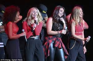 Little Mix smoulder in racy leather bustiers as they ...