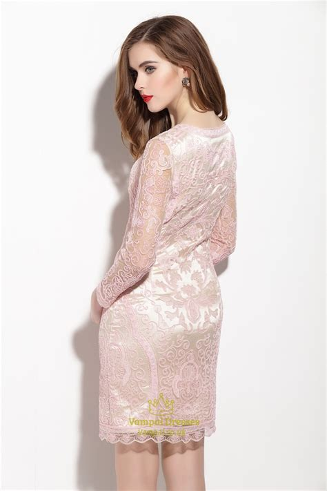 light pink dress with sleeves light pink embellished 3 4 length sleeve sheath dress