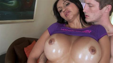 Oiled Up Body Is Ready To Have Sex So The Busty Milf Is