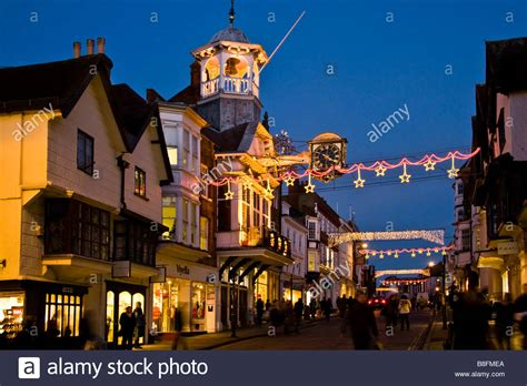 guildford high street christmas shoppers surrey england