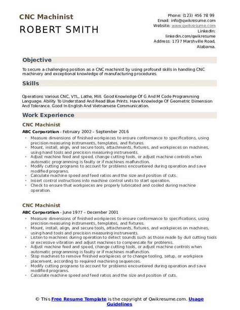 Machinist Resume by Cnc Machinist Resume Sles Qwikresume