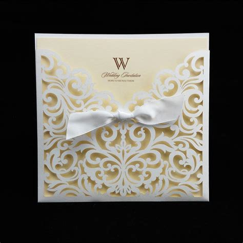 ivory cheap laser cut wedding invitation packages