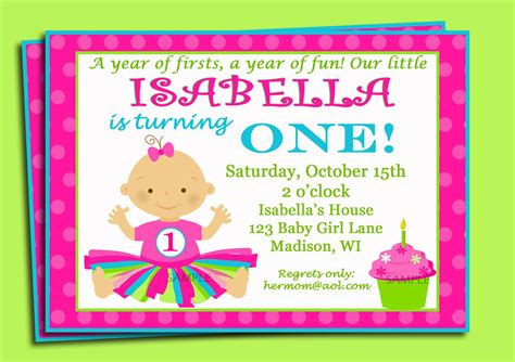 Free Printable 1st Birthday Invitation Cards For Girls