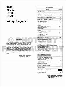 1988 Mazda B2600 B2200 Pickup Truck Wiring Diagram Manual Original