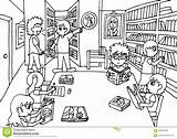 Library Quiet Keep Coloring Drawing Librarian Student Telling Illustration sketch template