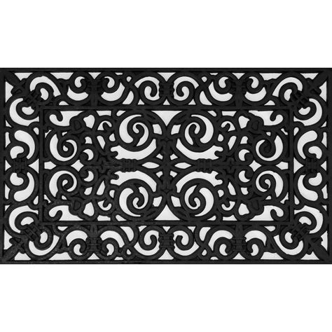 Black Rubber Doormat by Wrought Iron Collection Black Half 30 In X 18