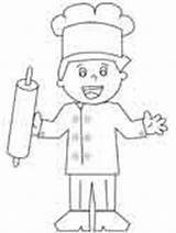 Coloring Chef Baker Chefs Outline Boy Kid Ws Cut sketch template