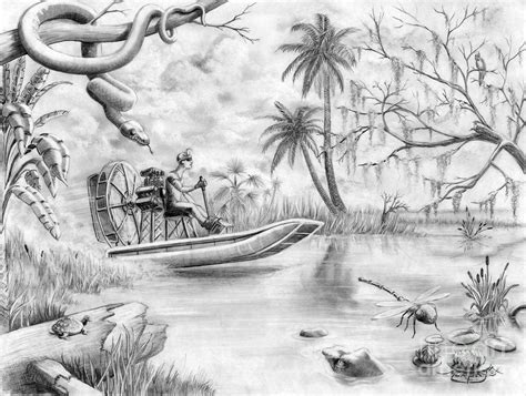 Airboat Drawings by Everglades Florida By Murphy Elliott