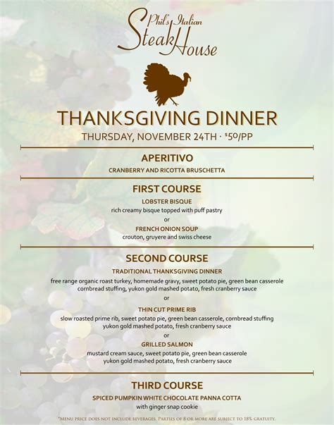 italian thanksgiving dinner menu phil s italian steak house best las vegas steakhouse fine dining treasure island