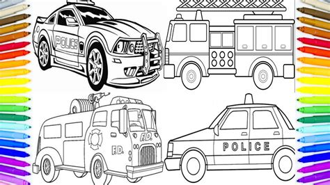 police car fire truck coloring book fun painting