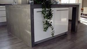 cuisine ilot en beton concrete lcda With cuisine avec ilot central plaque de cuisson