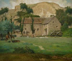 The Farm House Pastel by Jean Francois Millet