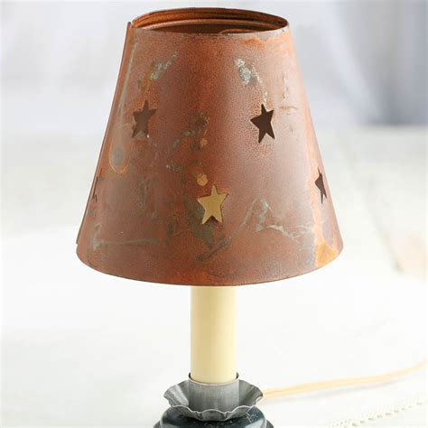 candle light l shades rusty tin star cutout candle l shade lighting