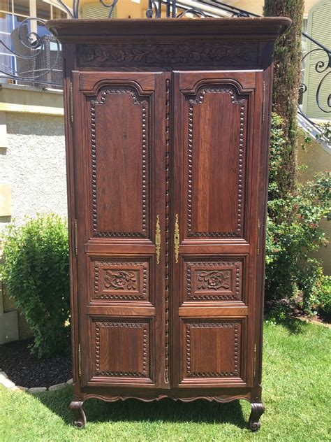 Antique French Normandy Bedroom Armoire In Oak Large