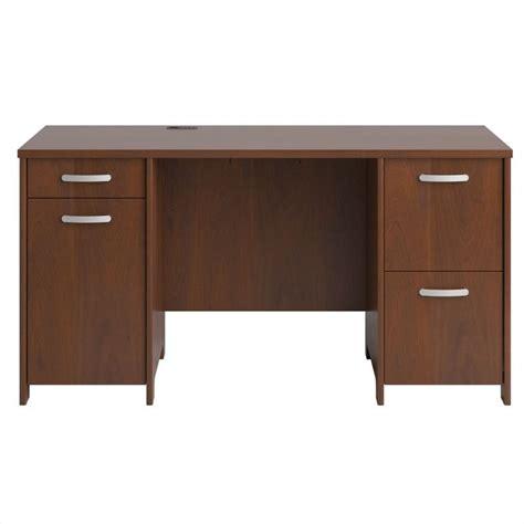 bush hansen cherry desk bush envoy double pedestal desk in hansen cherry finish