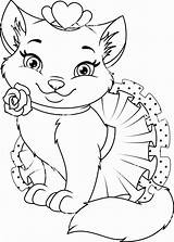 Coloring Princess Cat Animal Kittens Vector Kitty Dog sketch template