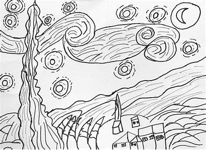 Starry Night Coloring Gogh Van Pages Contour