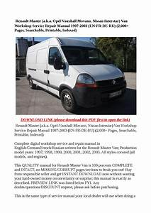Renault Master  A K A Opel Vauxhall Movano  Nissan Interstar  Van Workshop Service Repair Manual