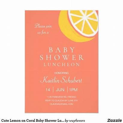 Shower Invitations Zazzle Luncheon Coral Invitation Lemon