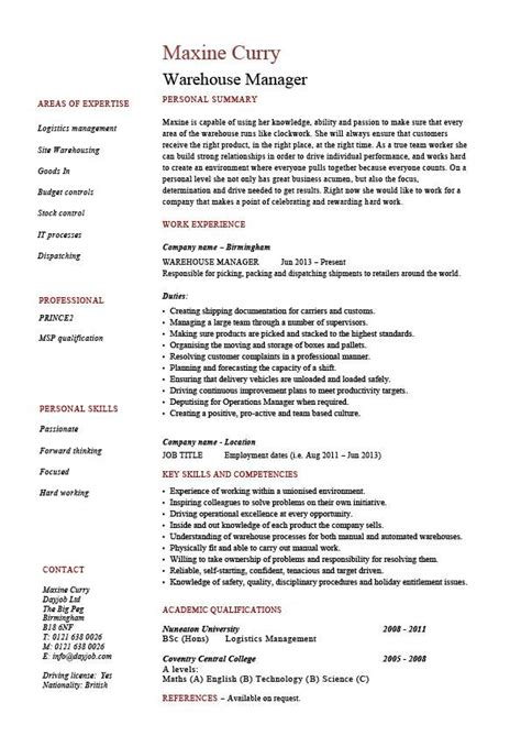 Resume Sles For Warehouse Manager by Warehouse Manager Resume Exles Description Stock Management Distribution Career History