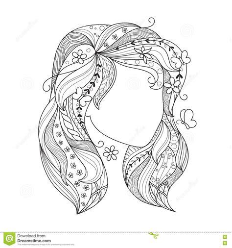 zenkunstmaedchen portraet einer frau mit zentangle haar fuer