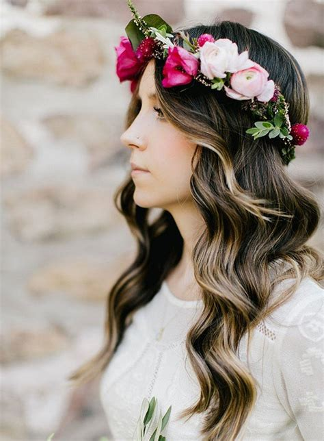gorgeous wedding hairstyles  flower crown