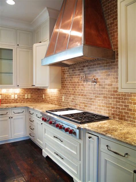 brick kitchen backsplash brick backsplash and copper hood would look great with open white shelves kitchen ideas