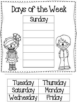 days   week cut paste worksheet   seipels