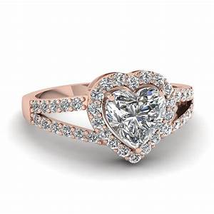 Heart shaped diamond engagement ring in 14k rose gold for Heart shaped engagement rings wedding bands