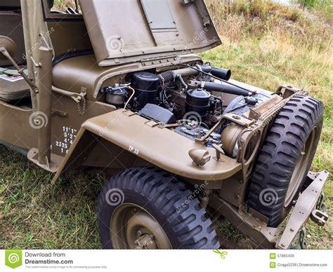 wwii jeep engine vintage wwii military vehicle engine stock photo image