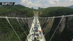 Don't crack it! Worlds longest glass bottom bridge open ...