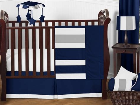Navy Blue And Gray Stripe Baby Bedding  11pc Crib Set By