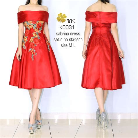 jual dress pesta sabrina merah metalic premium minidress