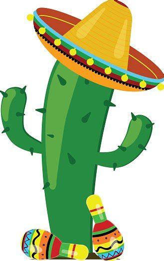 Sombrero Clip Maracas De Cactus En Un Sombrero Vectores En Stock