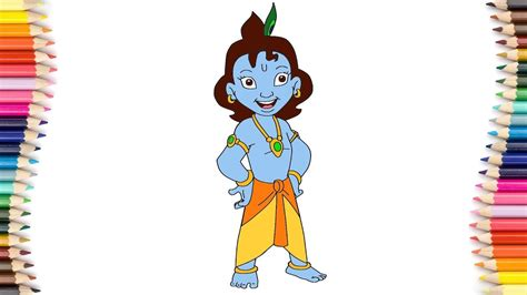 draw chhota krishna cartoon colouring chhota