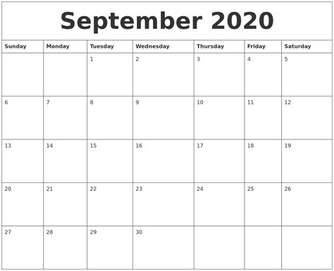 september  calendar month