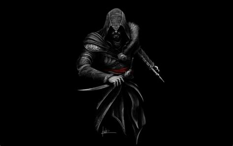 wallpaper ezio assassins creed fan art black dark