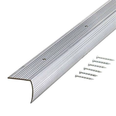 bullnose carpet stair treads home depot trafficmaster silver fluted 36 in stair edging 18556