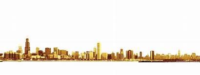 Skyline Chicago Clipart Golden Silhouette Font Transparent