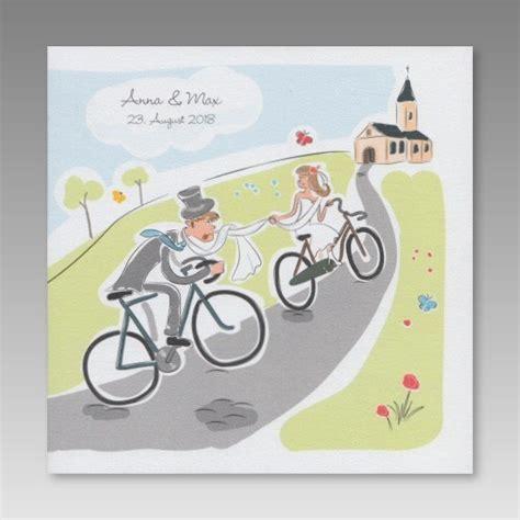 comic hochzeitseinladung brautpaar faehrt fahrrad