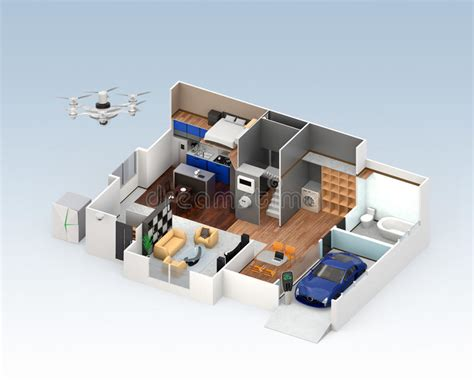 Cutaway View Of Smart House Interior Stock Illustration Cleaning Coffee Off Wool Carpet Shaw Hexagon Commercial Orlando Fl Flint Carpetland Airbase And Tile Dover De Hudson Bay Concepts Alpharetta
