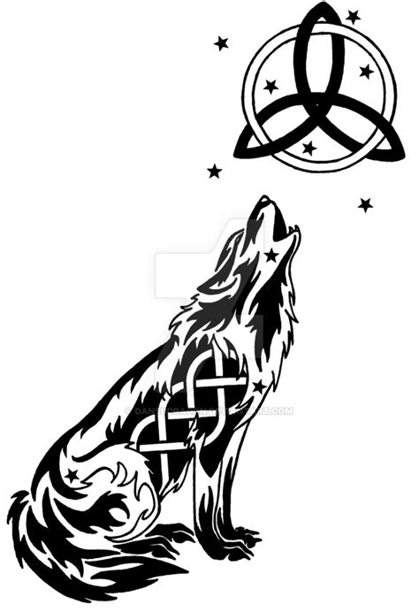 starry celtic wolf  moon tattoo  dansudragon