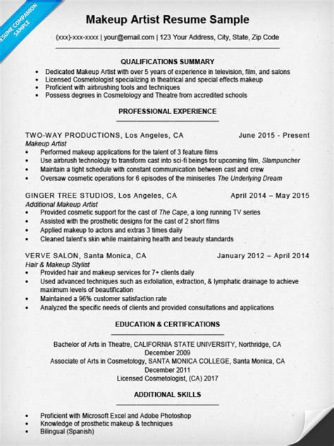 Resume Writing Exles For Makeup Artists by Makeup Artist Resume Sle Resume Companion