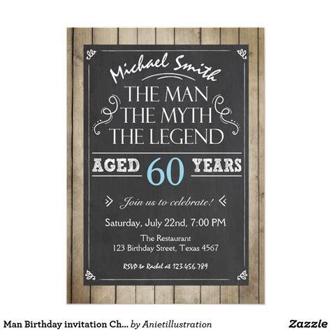 Man Birthday invitation Chalkboard Rustic Adult Zazzle