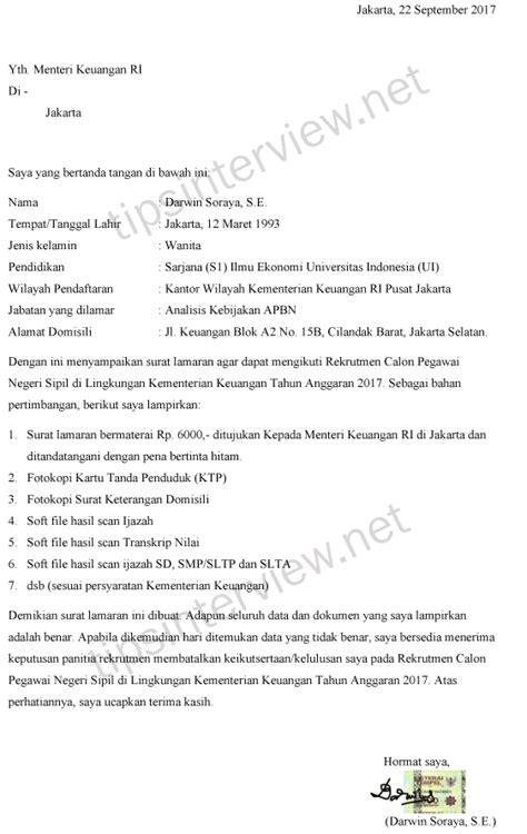 Contoh Surat Lamaran Kejagung Cpns by Contoh Surat Lamaran Kerja Cpns