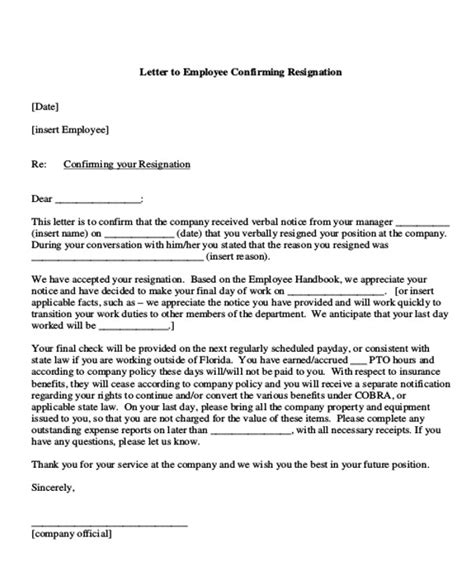 sample employment resignation letter  examples