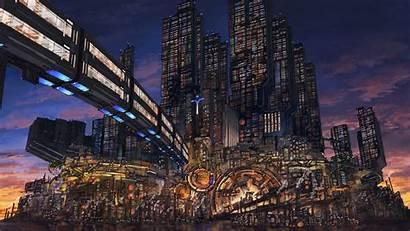 Cyberpunk Sci Fi Fantasy Wallpapers Bridge Skyscrapers